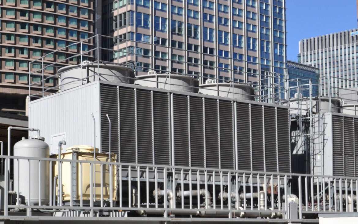 Cooling tower for HVAC system with coils and fins on display wit